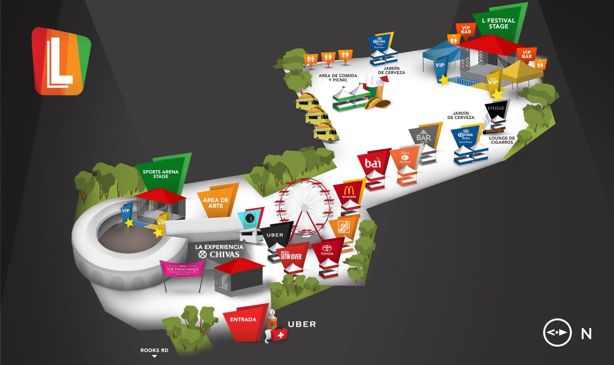 Mapa del LFestival - Horario de artistas y escenarios